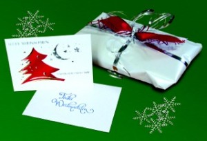 Geschenk mit Grußkarte
