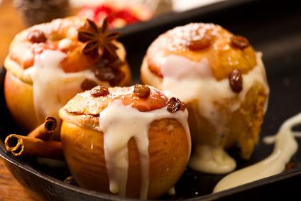 Vegane Bratäpfel mit Vanillepudding